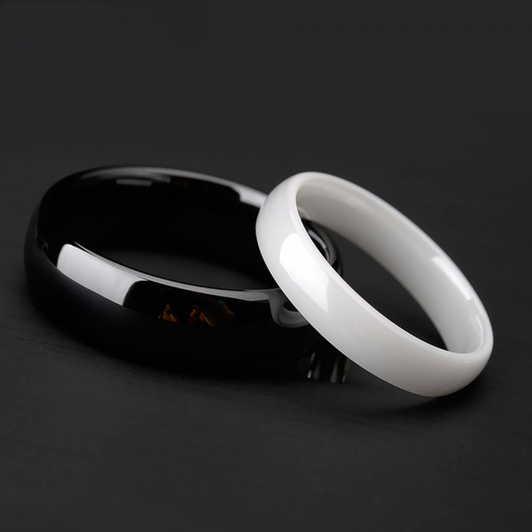 Ceramics White Couple Rings Glossy Inner Arc Design Simple and Vogue Style