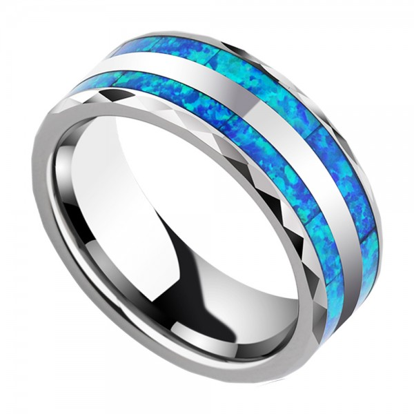 Luxury Tungsten Men's Ring Opal Inlaid Noble and Vogue Jewelry