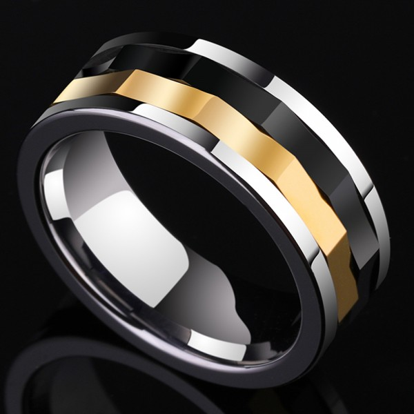 Tungsten Men's Ring Wheel of Time Rotatable Black Silver and Gold