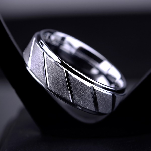 Tungsten Men's Ring Semi-glossy Silvery Dull Polish Design Simple and Vogue Style