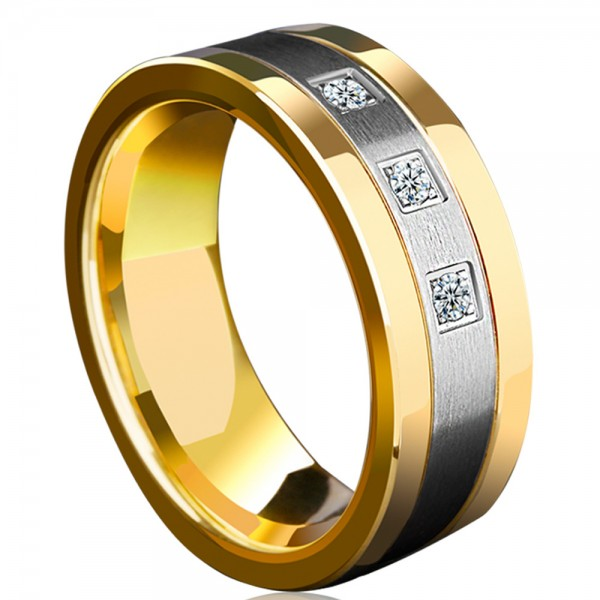 Tungsten Men's Ring Silvery and Gold Cubic Zirconia 18K Gold Plating Craft Noble and Vogue Style