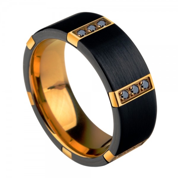 Tungsten Men's Ring Nobel and Vogue Style For Business Elite Black Zirconia