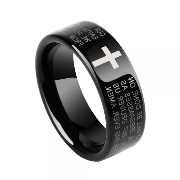 Tungsten Men's Black Ring Original the Bible Idea Vogue Style Polish Craft