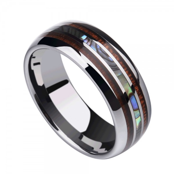 Tungsten Men's Ring Shellfish and Acacia Design Charming Vogue and Leisure Style Polish Craft
