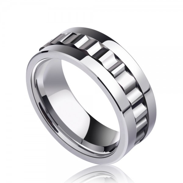Tungsten Men's Ring Rotatable Wheel Polish Inner Arc Craft Cool Highlight Personality