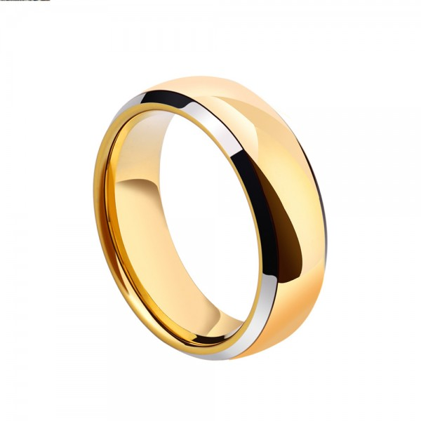 Tungsten Men's Gold Ring Simple Vogue Style Handsone Polish Craft Optional Colors