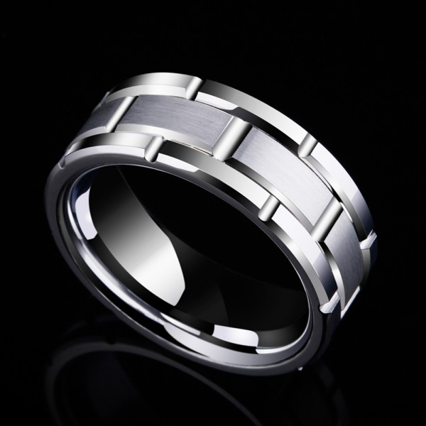 Tungsten Men's Silvery Ring Cool and Tough Style Fluted Craft Glossy