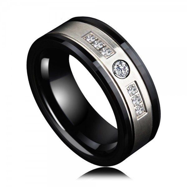 Men's Ceramic Black Ring Business and Vogue Style Cubic Zirconia Inner Arc Design Polish Craft