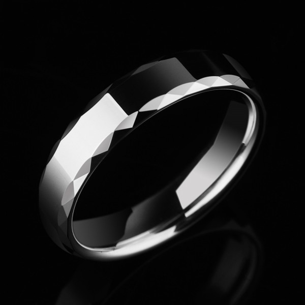 Tungsten Men's Silvery Ring Wheel Design Cutting and Polish Craft Simple and Vogue Style Glossy