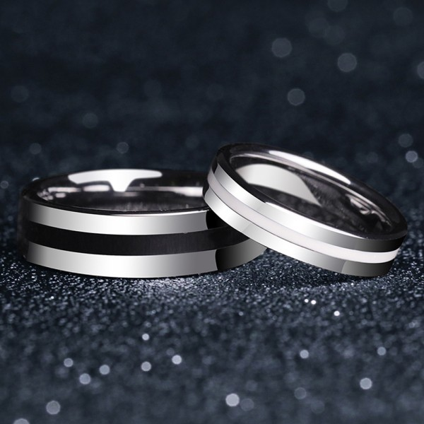 Tungsten Couple Rings Simple Design Vogue Style Black White Silvery Inlaid Silica Gel Strength and Tenderness