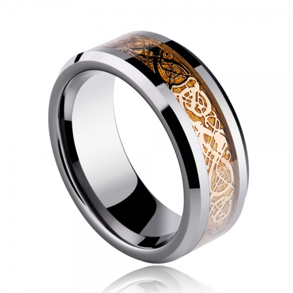 Tungsten Men's Black and Gold Rings Dragon Pattern Cool Charming Style Polish and Gold-plating Craft