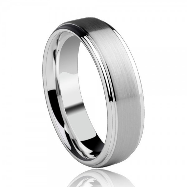 Tungsten Men's Silvery Ring Brushed Semi-glossy Simple and Vogue Style Inner Arc