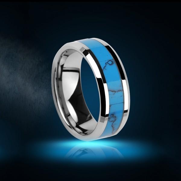 Tungsten Men's Ring Inlaid Calaite Magnificent Bohemian Style Vogue