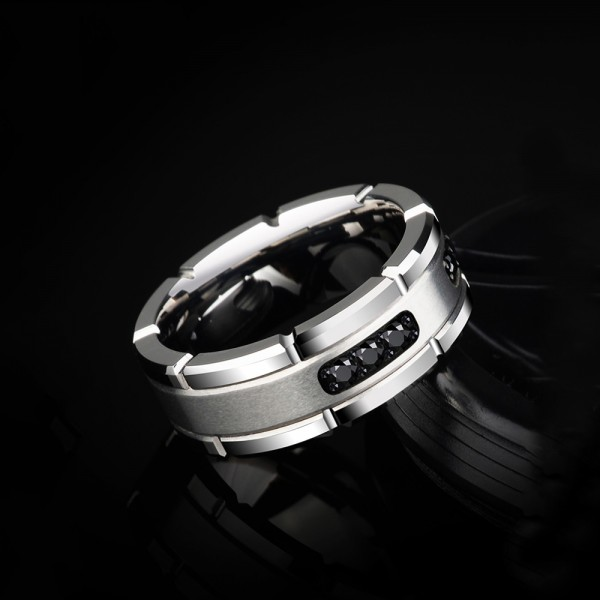 Silvery Tungsten Men's Ring Inlaid Cubic Zirconia Simple Vogue and Business Style Dull Polish Craft