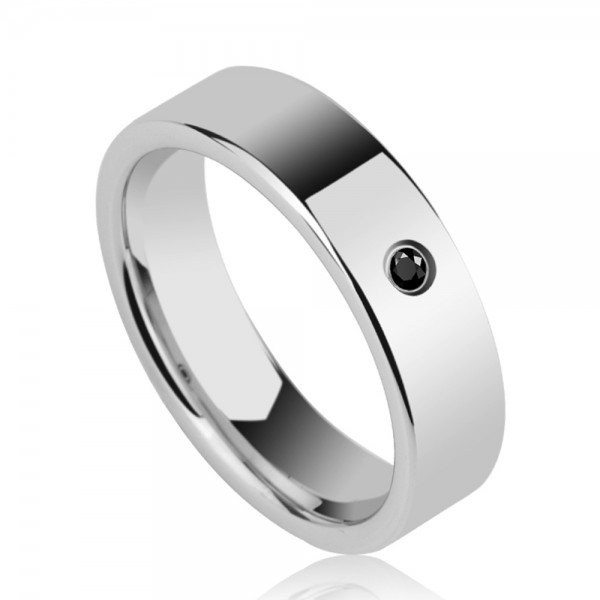 Tungsten Men's Silvery Ring Simple and Vogue Style Inlaid Black Cubic Zirconia Business