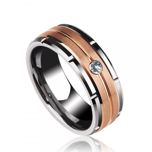 Tungsten Men's Ring Silvery and Rose Gold Inlaid Cubic Zirconia Elegant and Vogue Style