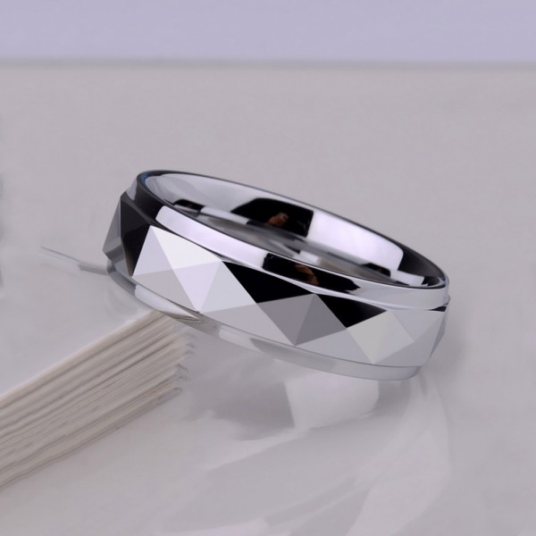Tungsten Couple Silvery Rings Geometric Figure Design Metallic Chic Style Cool and Vogue