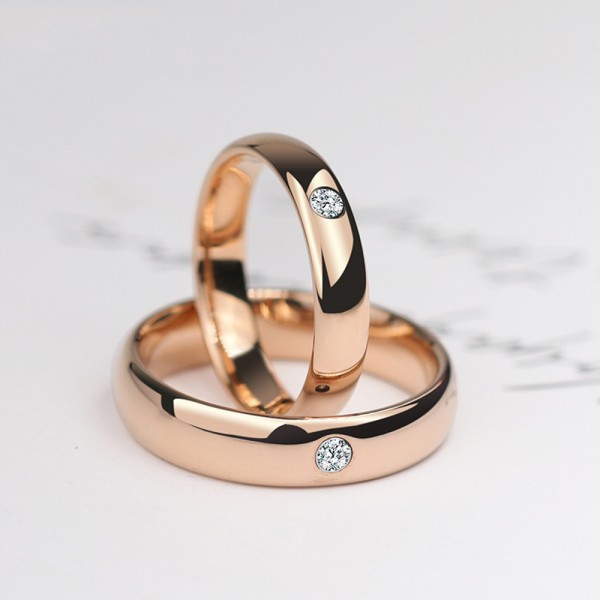 Tungsten Couple Rose Gold Rings Inlaid Cubic Zirconia Simple and Vogue Style Polish Craft