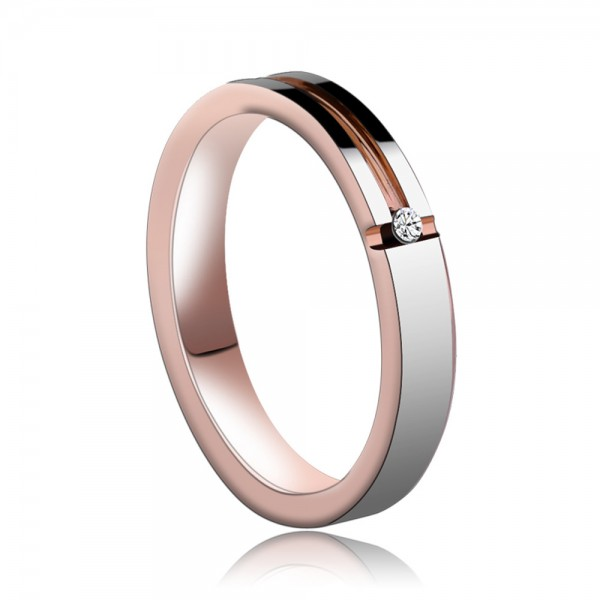 Tungsten Men's Silvery and Rose Gold Ring Shooting Star Idea Simple and Vogue Style Cubic Zirconia Inlaid Craft