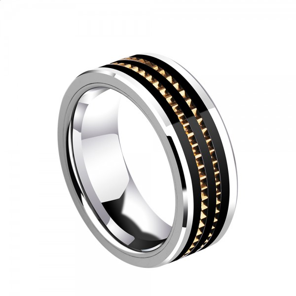 Tungsten Men's Black Silvery and Gold Ring Fashion Wheel Design Strong and Hard Style