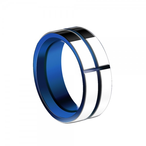 Tungsten Men's Ring Navy Blue Cross-Carving Pattern Simple and Fashion Style Polish Craft