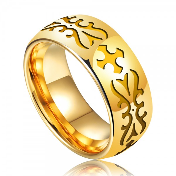 Tungsten Men's Ring Gold-plating Carving Pattern Luxury and Fashion Style Polish Craft