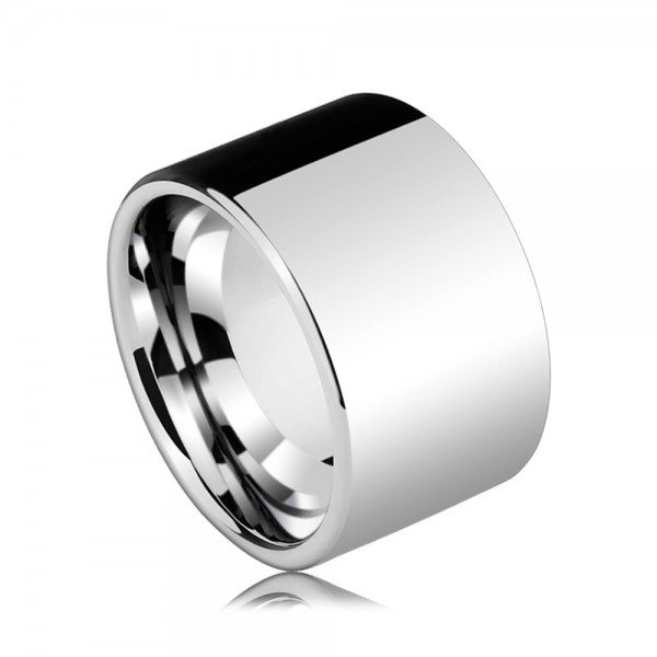 Tungsten Men's Silvery Ring in Wide Version Fashion and Elegant Style Polish Craft