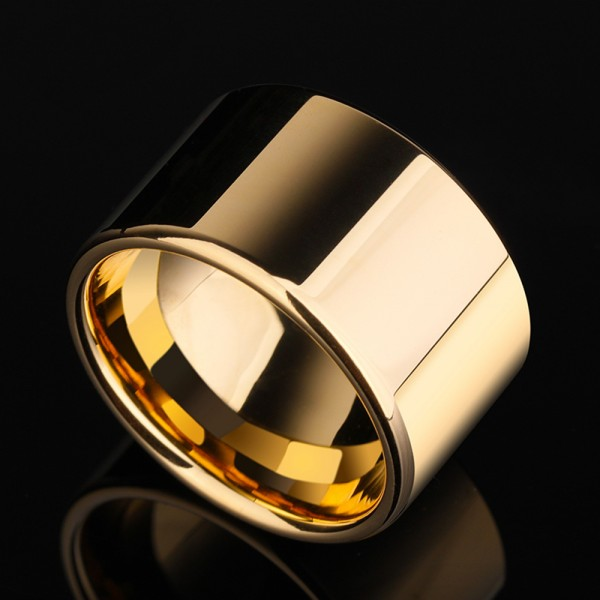 Tungsten Men's Gold Ring in Wide Version Fashion and Elegant Style Polish Craft