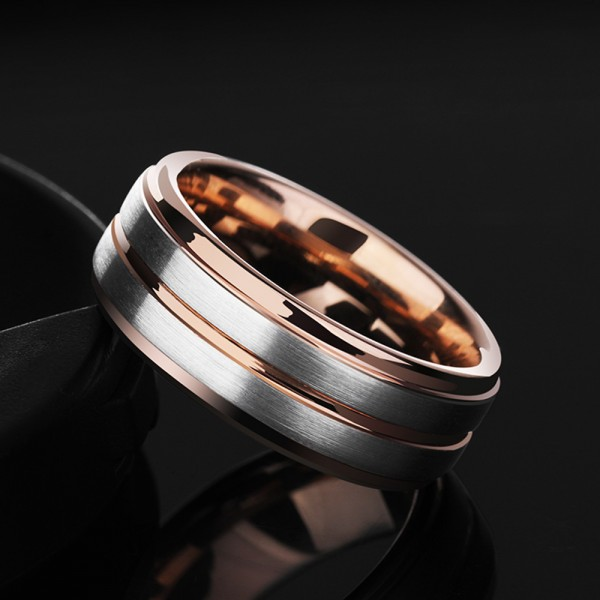 Tungsten Men's Silvery and Rose Gold Ring Semi-glossy Simple and Fashion Style For Business Elite