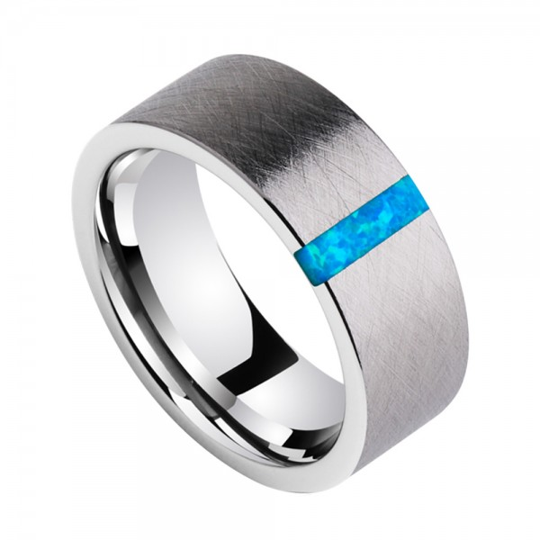 Tungsten Men's Ring Inlaid Opal Gemstone Luxury and Fashion Style Brushed Craft
