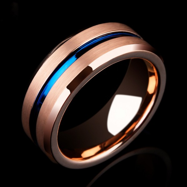 Tungsten Men's Ring Electroplating Rose Gold Elegant and Fashion Style Fluted and Brushed Craft