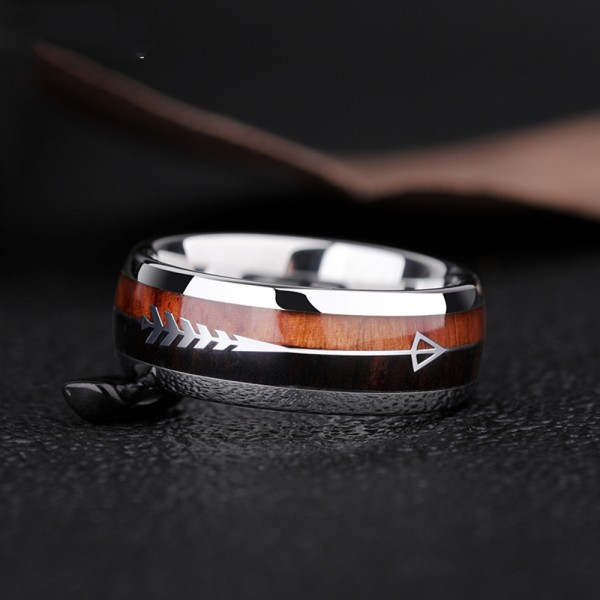 Tungsten Men's Ring Accessorized Acacia Elegent and Fashion Style Arrow Pattern Polish and Dripping Craft