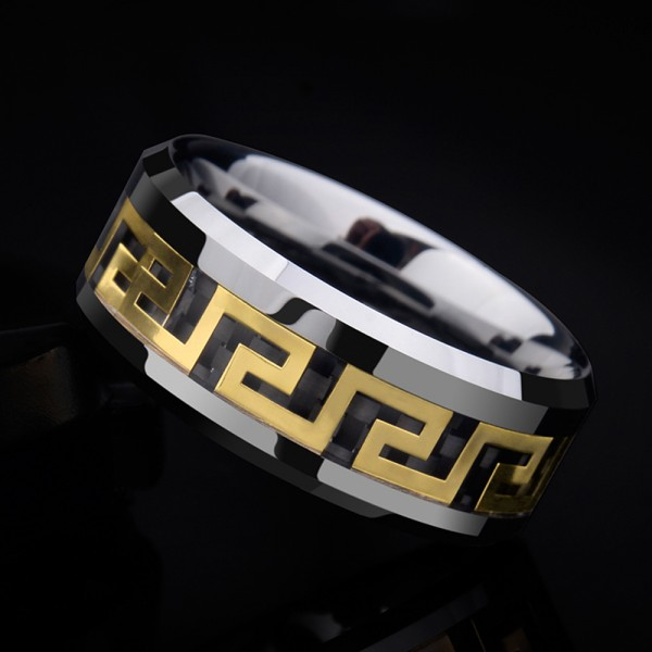 Tungsten Men's Ring Accessorized Goldleaf Great Wall Desgign Retro Style Polish and Inlaid Craft