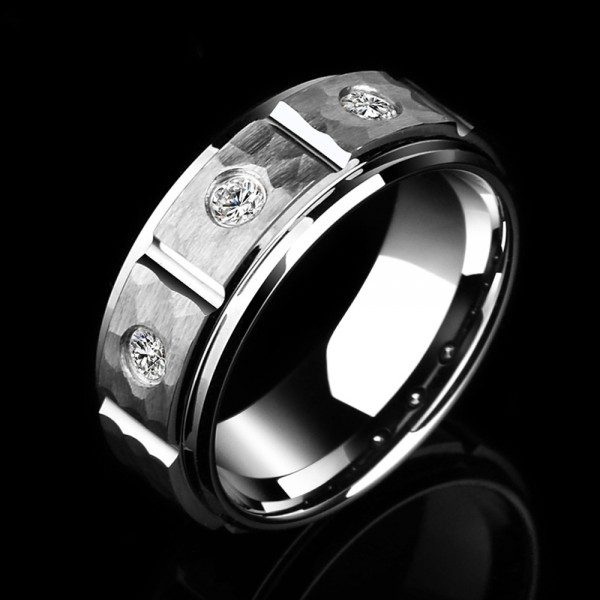 Tungsten Men's Silvery Ring Inlaid Cubic Zirconia Fashion Hale and Hearty Style Dull Polish Craft
