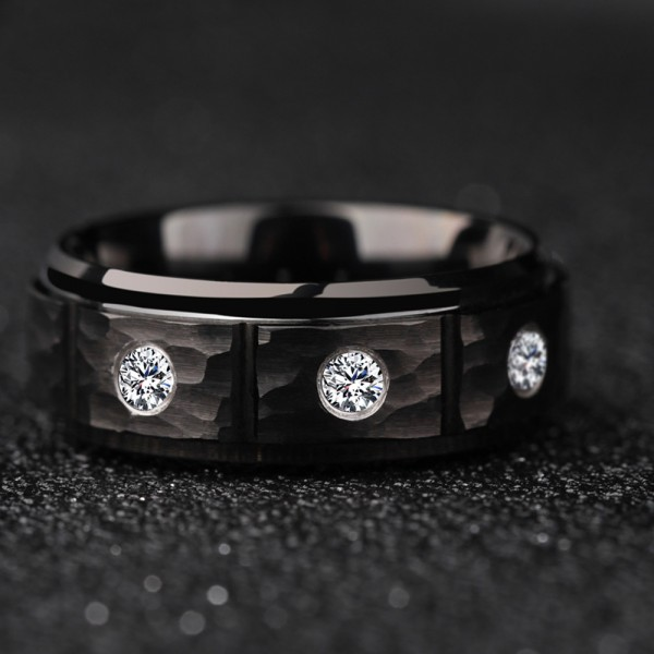 Tungsten Men's Black Ring Inlaid Cubic Zirconia Fashion Hale and Hearty Style Dull Polish Craft