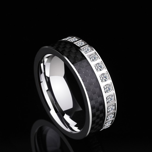 Tungsten Men's Ring Cubic Zirconia Elegant and Luxury Style Polish and Inlaid Craft
