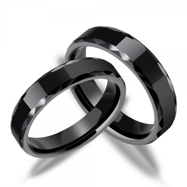 Ceramic Couple Black Rings Cutting Side Geometric Beauty Vogue and Cool Style