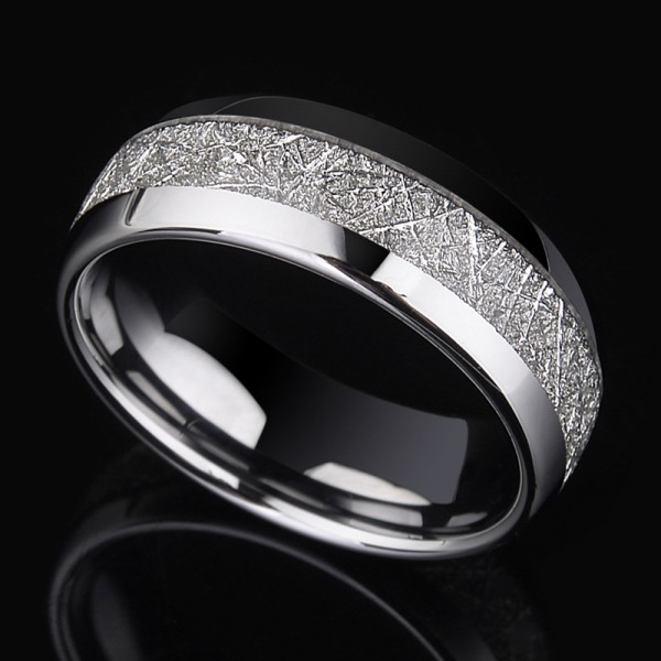 Tungsten Men's Silvery Ring Inlaid Silver Leaf Retro and Luxury Style Highlight Strength and Tenderness Polish Craft