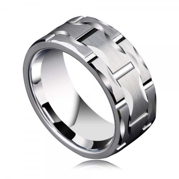 Tungsten Men's Silvery Ring in Wide Version Design to Combine Square and Round Polish and Fluted Craft