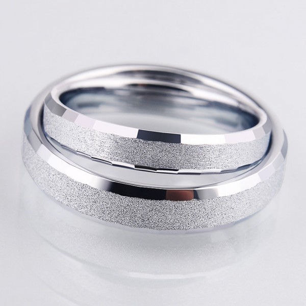 Tungsten Couple Silvery Ring Dull Polish Craft Inner Arc and Cutting Side Design