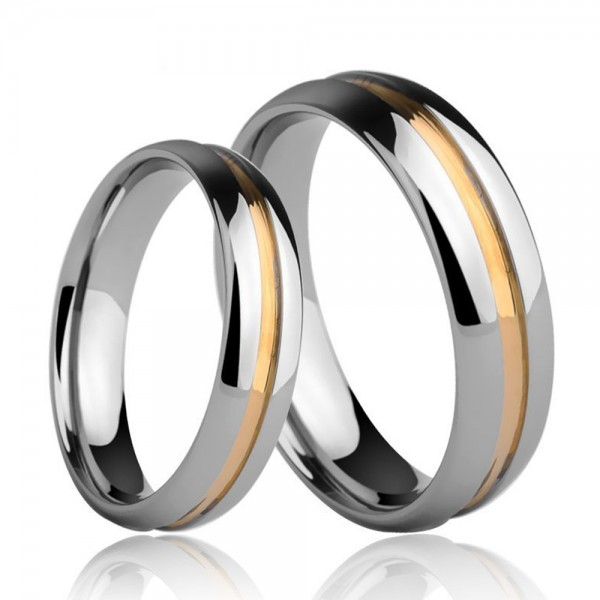 Tungsten Couple Rings Silvery and Gold Simple and Vogue Style Polish Craft