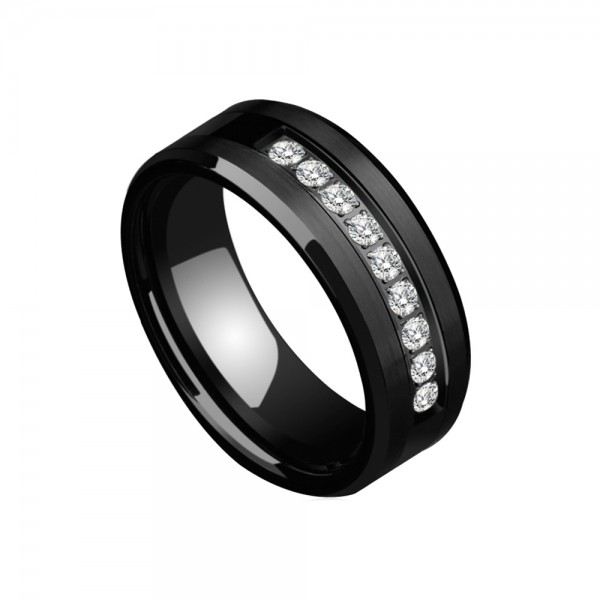 Tungsten Men's Black Ring Inlaid Nine Cubic Zirconia Vogue and Cool Style Polish and Inner Arc Craft