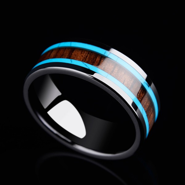 Ceramic Men's Ring Inlaid Acacia and Calaite Stable and Fashion Style Polish Craft