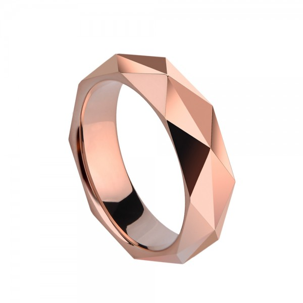 Tungsten Men's Rose Gold Ring Geometric Cutting Highlighting Personality Cool and Vogue Style