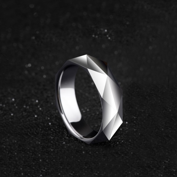 Tungsten Men's Silvery Ring Geometric Cutting Highlighting Personality Cool and Vogue Style