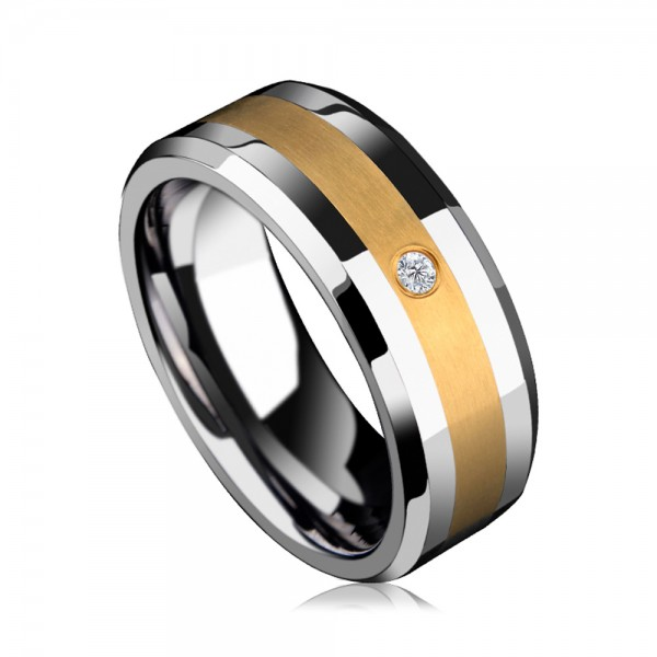 Tungsten Men's Silvery Ring Inlaid 14K Gold Luxury and Noble Style Business Elite