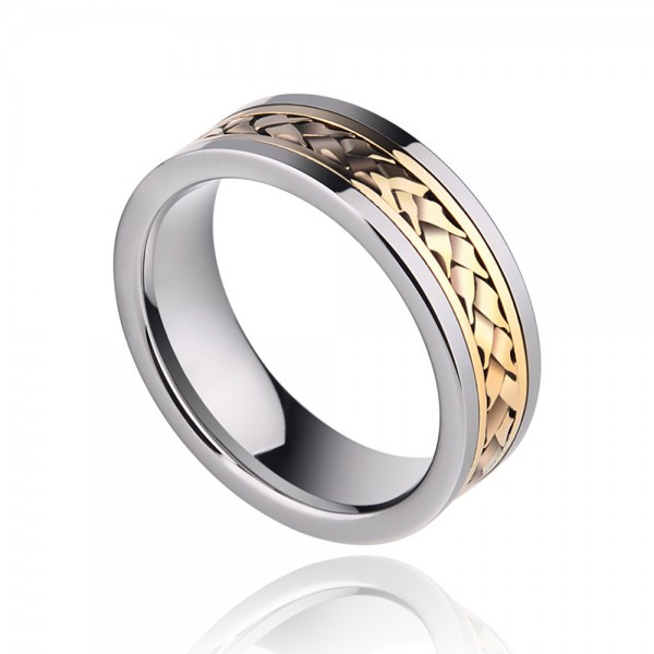 Tungsten Men's Silvery Ring Inlaid 18K Gold Luxury Noble and Retro Style Braid Design