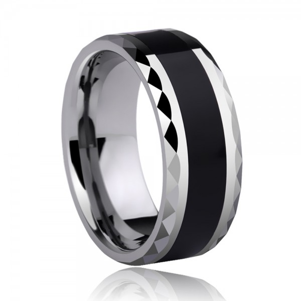Tungsten Men's Black Ring Inlaid Silica Gel Geometric Cutting Side Simple Fashion Style Polish Craft
