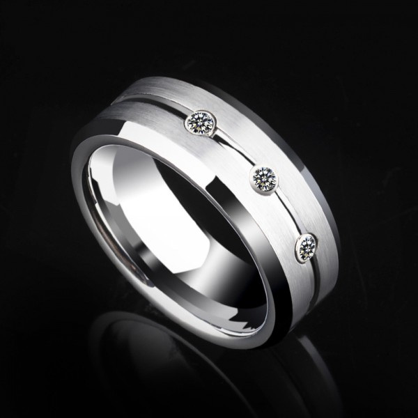 Tungsten Men's Silvery Ring Luxury and Vogue Style Inlaid High-quality Cubic Zirconia Polish and Brushed Craft