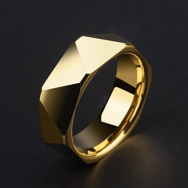 Tungsten Men's Golden Ring Geometric Cutting Simple Vogue and Luxury Style Polish Craft